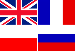 Wir sprechen englisch, französisch, polnisch und russisch - Faggen von England, Frankreich, Polen und Russland.